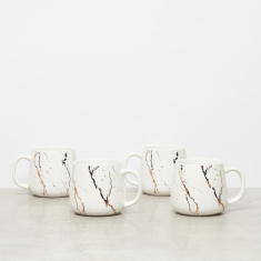4-Piece Abstract Printed Mugs - 325 ml
