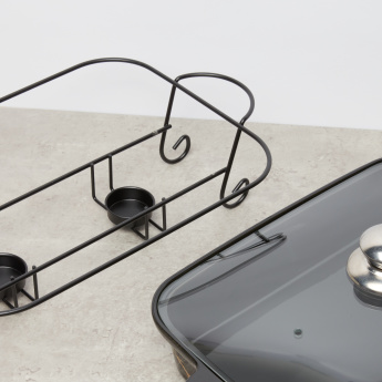 Rectangular Casserole with Glass Lid and Stand - 36.5x22.5x6.5 cms