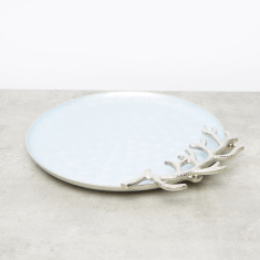 Coral Round Decorative Tray - 34 cms