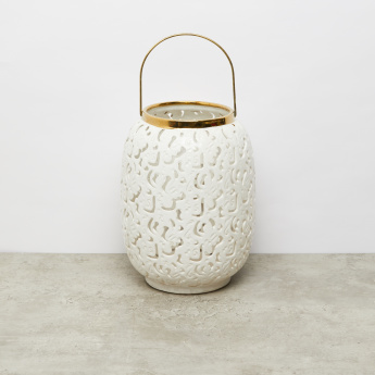 Textured Candle Lantern with Handle – 22.8x22.8x29.5 cms