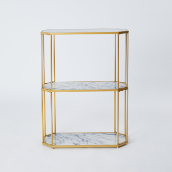 3-Tier Metallic Shelf - 62x30x82.5 cms