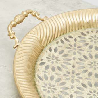 Decorative Round Metal Tray with Handles - 38 cms