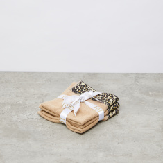 Leopard Printed 3-Piece Face Towel Set - 30x30 cms