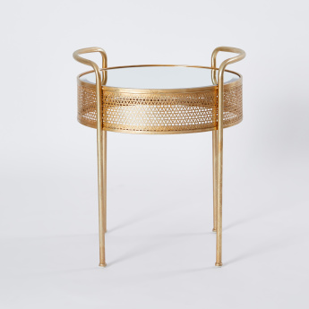 Metallic Accent Table with Mirrored Top - 52.5x49.5x60 cms