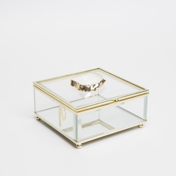 Glossy Square-Shaped Glass Box with Agate Detail