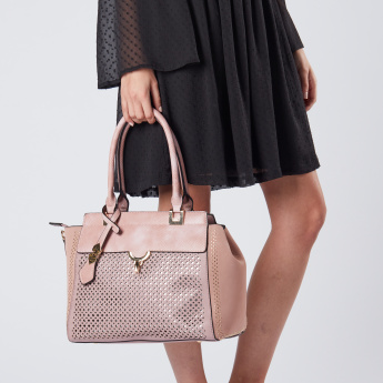 Bessie London Tote Bag with Laser Cut and Metal Lock Closure