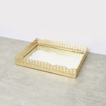 Decorative Cutwork Rectangular Mirror Tray - 43x33 cms