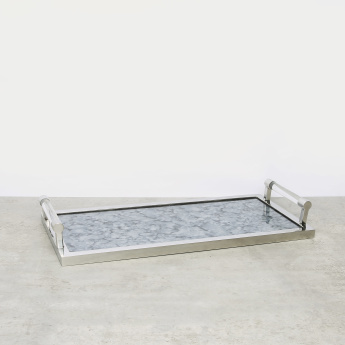 Decorative Rectangular Glass Tray with Handles , 56.5x26.5x7.5 cms