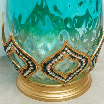 Embellished Glossy Hurricane Pillar Candle Holder - 20x20x28 cms