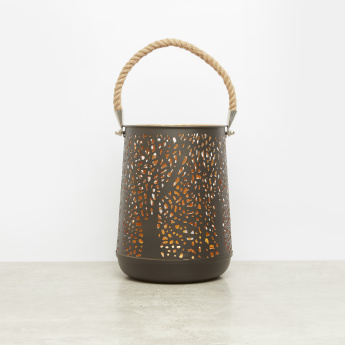 Cutwork Lantern with Jute Handle - 20x20x25 cms