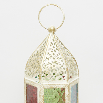 Cutwork Tealight Lantern with Coloured Glass - 9x8x16 cms