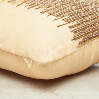 Lima Beaded Detail Filled Cushion - 45x45 cms