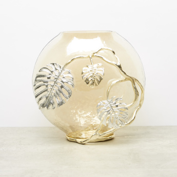 Moulded Metallic Oval Vase - 34x22x30.5 cms