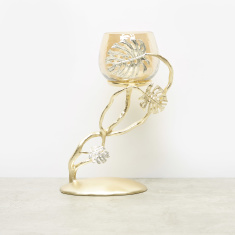 Leaf Accent Pillar Candle Holder - 22.5x16x34.5 cms