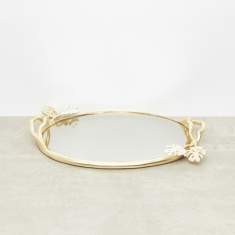 Mirror Detail Oval Shape Tray - 38x27 cms