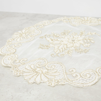 Joice Lace Embroidered Circular Placemat - 38 cms