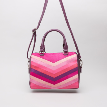 Sasha Aochi Striped Duffle Bag with Detachable Sling Strap
