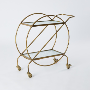 Metallic Glazed 2-Tier Serving Cart - 75.5x30x76.3 cms