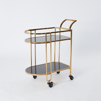2-Tier Serving Cart with Push Handle - 69.5x38.5x83 cms