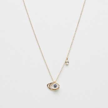 Evil-Eye Crystal Pendant Necklace with Tear-Shaped Embellishment
