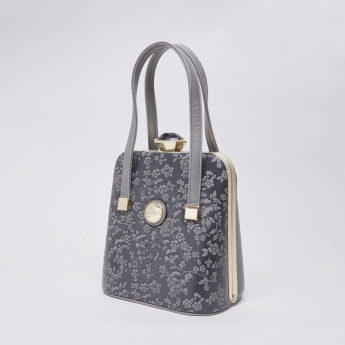 Peach Floral Textured Tote Bag with Short Handles