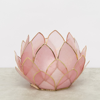 Nat Capiz Lotus 24-Petal Tealight Holder with Binding