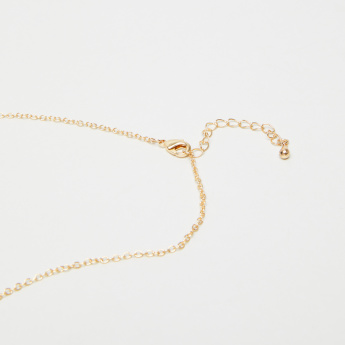 Sentiments Long Necklace with English Alphabet L
