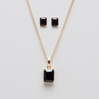 Embellished Square Shaped Crystal Necklace and Earring Set