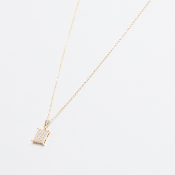 Square Shaped Crystal Embellished Pendant Necklace with Earrings