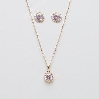 Embellished Multi Crystal Studded Necklace and Earring Set