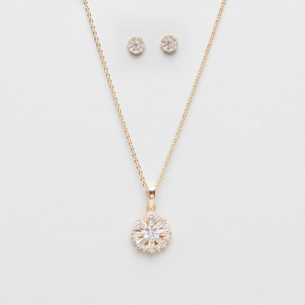 Embellished Multi Crystal Necklace and Earring Set