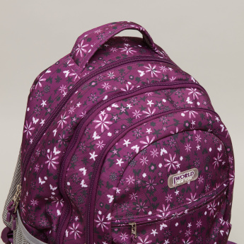 J World Floral Printed Backpack with Zip Closure - 20x32x48 cms