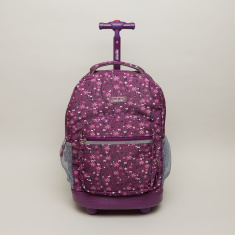 J World Floral Printed Trolley Backpack - 22x32x46 cms