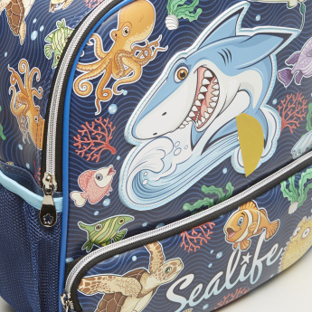 Printed Backpack with Zip Closer - 26x31 cms