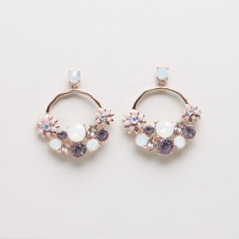 Fashion Flower Stone-Studded Earrings