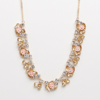 Fashion Flower Stone Studded Statement Necklace