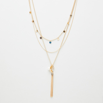 Embellished 3-Layered Necklace with Tassel Detail
