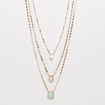 Layered Necklace with Tear-Drop Shaped Charm