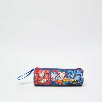 Justice League Printed Pencil Case with Zip Closure
