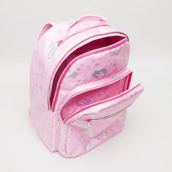 New Expressions Unicorn Iridescent Print Backpack - 32x14x41 cms