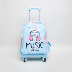 Graphic Print Convertible Trolley Backpack - 32x45x15 cms