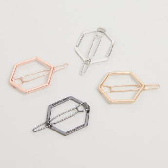 Hexagon Metal Hair Clips - Set of 4