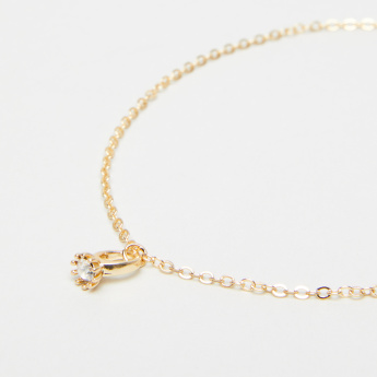 Studded Ring Charm Anklet with Lobster Clasp Closure