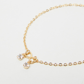 Embellished Anklet with Lobster Clasp Closure