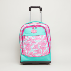 Neon Plumes Printed Trolley Backpack - 34x47x23 cms