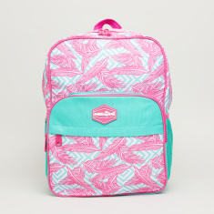 Neon Plumes Printed Backpack with Zip Closure