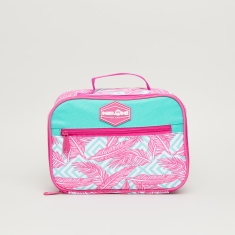 Neon Plumes Printed Lunch Bag with Zip Closure