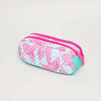 Neon Plumes Printed Dual Pencil Case with Zip Closure