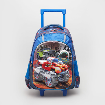 Truck Print Trolley Backpack with Retractable Handle