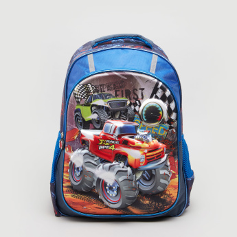Printed Backpack with Zip Closure - 30x15x43 cms